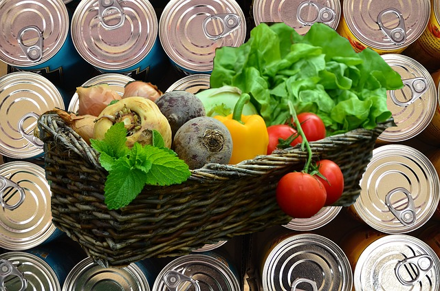 tins and vegetables