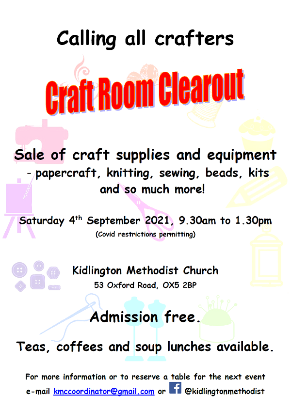 craft room clearout poster - information from article over icons of crafting tools such as a sewing machine and scissors